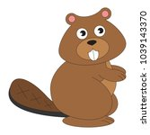 beaver cartoon. outlined... | Shutterstock .eps vector #1039143370