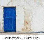 Old House White Wall With Blue...