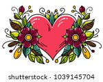 tattoo red heart decorated two... | Shutterstock .eps vector #1039145704