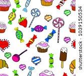 cute hand drawn dessert... | Shutterstock .eps vector #1039150534