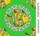 watercolor texture fish pattern.... | Shutterstock . vector #1039150573