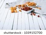 hard shell stone fruits on...   Shutterstock . vector #1039152700