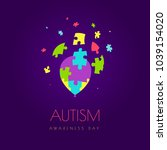 autism awareness day vector...   Shutterstock .eps vector #1039154020