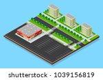 city isometric plan of sleeping ... | Shutterstock .eps vector #1039156819