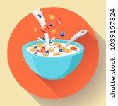 vector breakfast cereal in bowl ... | Shutterstock .eps vector #1039157824