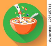 vector breakfast cereal in bowl ... | Shutterstock .eps vector #1039157866