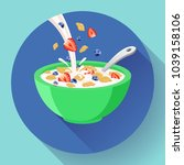 vector breakfast cereal in bowl ... | Shutterstock .eps vector #1039158106