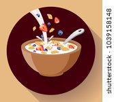 vector breakfast cereal in bowl ... | Shutterstock .eps vector #1039158148