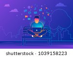 young man sitting in the park... | Shutterstock .eps vector #1039158223
