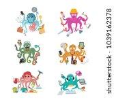 octopus in business vector... | Shutterstock .eps vector #1039162378