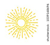 hand drawn cute shinny sun.... | Shutterstock .eps vector #1039168696