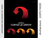 simple curved 3d arrow going... | Shutterstock .eps vector #1039174030
