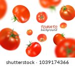 fresh red tomatoes flying... | Shutterstock .eps vector #1039174366