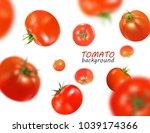 fresh red tomatoes flying... | Shutterstock .eps vector #1039174366