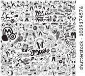music big doodle set | Shutterstock .eps vector #1039174576