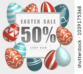 easter sale banner with... | Shutterstock .eps vector #1039175368