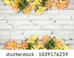 beautifull flowers over wood... | Shutterstock . vector #1039176259