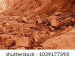 martian landscape of a lost wadi | Shutterstock . vector #1039177393