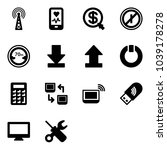 solid vector icon set   antenna ... | Shutterstock .eps vector #1039178278
