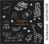 kenya hand drawn doodle set....   Shutterstock .eps vector #1039181938