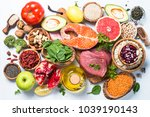 superfoods on white background. ... | Shutterstock . vector #1039190143