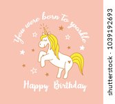 cute magical unicorn design.... | Shutterstock .eps vector #1039192693