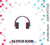 headphones  glitch effect... | Shutterstock .eps vector #1039197310