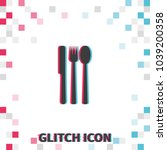 fork  knife and spoon  glitch...   Shutterstock .eps vector #1039200358