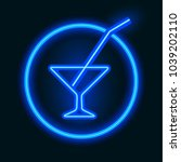 neon icon. a glass for a drink... | Shutterstock .eps vector #1039202110