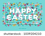 happy easter greeting card with ... | Shutterstock .eps vector #1039204210