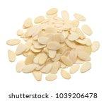 sliced almonds pile top view... | Shutterstock . vector #1039206478