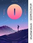surreal vector poster.... | Shutterstock .eps vector #1039212919