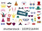colorful photo booth props set... | Shutterstock .eps vector #1039216444