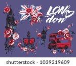 watercolor london vector... | Shutterstock .eps vector #1039219609