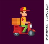 pizza deliveryman on a scooter. ...   Shutterstock .eps vector #1039221634