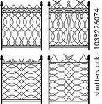 wrought iron gate  ornamental... | Shutterstock .eps vector #1039226074