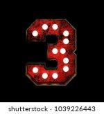 number 3. broadway style light... | Shutterstock . vector #1039226443