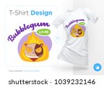 sweet tooth cat. print on t... | Shutterstock .eps vector #1039232146