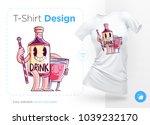 stylish bottle of alcohol.... | Shutterstock .eps vector #1039232170