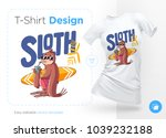 sloth surfer. print on t shirts ...   Shutterstock .eps vector #1039232188