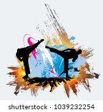 martial arts. high kick | Shutterstock .eps vector #1039232254