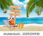 seaside vacation vector. travel ... | Shutterstock .eps vector #1039234930