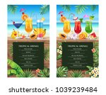 tropical hawaiian cocktail menu.... | Shutterstock .eps vector #1039239484