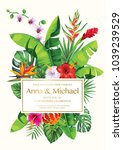 tropical hawaiian wedding... | Shutterstock .eps vector #1039239529