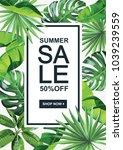 tropical hawaiian sale poster.... | Shutterstock .eps vector #1039239559