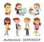 vector set of school children | Shutterstock .eps vector #1039240219