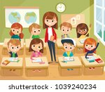 illustration with kids and... | Shutterstock .eps vector #1039240234