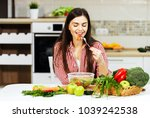 long haired caucasian girl... | Shutterstock . vector #1039242538