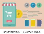 set of elements of mobile store.... | Shutterstock .eps vector #1039244566