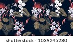 tropical floral seamless... | Shutterstock .eps vector #1039245280